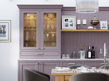Fitted kitchen shown in Belgravia Lavander Gray and Cashmere