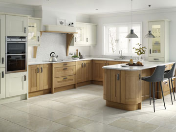 Fitted kitchen shown in Broadoak Alabaster and Oak