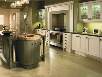 Fitted kitchen shown in Madison Ivory and Olive