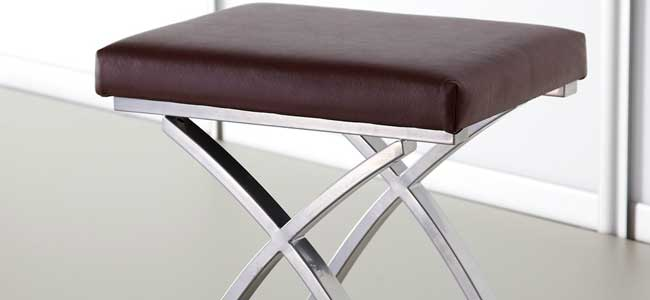 Stool Top Faux Leather in chocolate